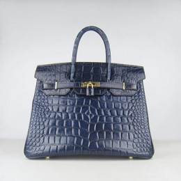 Hermes Birkin 35Cm Crocodile Big Stripe Handbags Dark Blue Gold