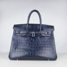 Hermes Birkin 35Cm Crocodile Big Stripe Handbags Dark Blue Silver