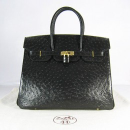 Hermes Birkin 35Cm Ostrich Stripe Handbags Black Gold