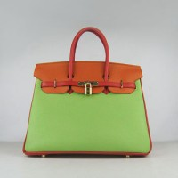 Hermes Birkin 35Cm Togo Leather Handbags Red/Orange/Green Gold