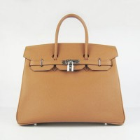 Hermes Birkin 35Cm Cattle Skin Stripe Handbags Light Coffee Silver