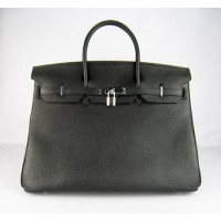 Hermes Birkin 40Cm Togo Leather Handbags Black Silver