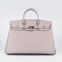 Hermes Birkin 40Cm Togo Leather Handbags Grey Gold