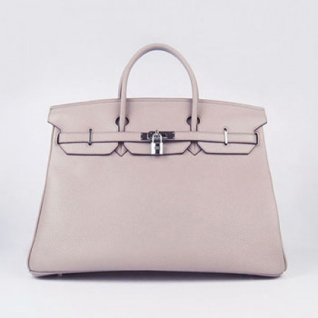 Hermes Birkin 40Cm Togo Leather Handbags Grey Silver