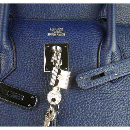 Hermes Birkin 40Cm Togo Leather Handbags Dark Blue Silver