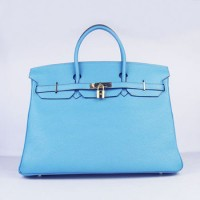 Hermes Birkin 40Cm Togo Leather Handbags Light Blue Gold