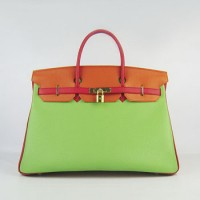 Hermes Birkin 40Cm Togo Leather Handbags Red/Orange/Green Gold