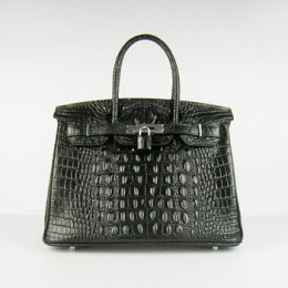 Hermes Birkin 30Cm Crocodile Head Stripe Handbags Black Gold