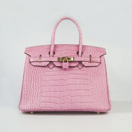 Hermes Birkin 30Cm Crocodile Stripe Handbags Pink Gold