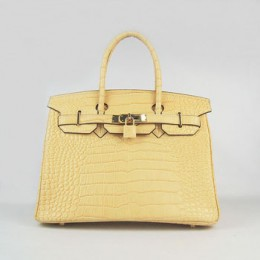 Hermes Birkin 30Cm Crocodile Stripe Handbags Yellow Gold