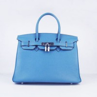 Hermes Birkin 30Cm Togo Leather Handbags Blue Silver