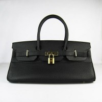 Hermes Birkin 42Cm Togo Leather Handbags Black Gold