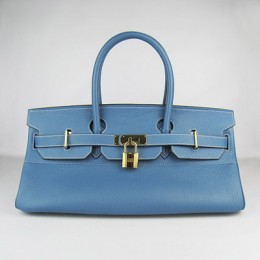 Hermes Birkin 42Cm Togo Leather Handbags Blue Golde
