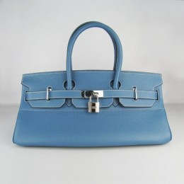 Hermes Birkin 42Cm Togo Leather Handbags Blue Silve