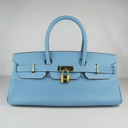 Hermes Birkin 42Cm Togo Leather Handbags Light Blue Gold
