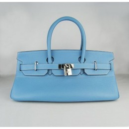 Hermes Birkin 42Cm Togo Leather Handbags Light Blue Silver