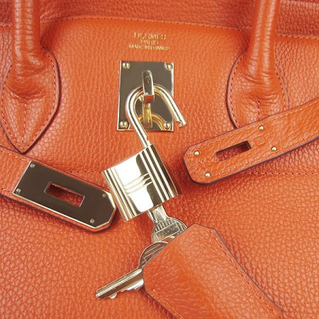 Hermes Birkin 42Cm Togo Leather Handbags Orange Gol
