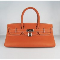 Hermes Birkin 42Cm Togo Leather Handbags Orange Sil
