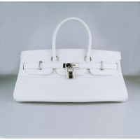 Hermes Birkin 42Cm Togo Leather Handbags White Silv