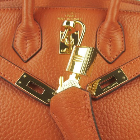 Hermes Birkin 25Cm Handbag Orange Gold