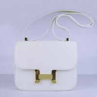 Hermes Constance Shoulder Bag White Glod