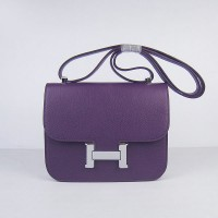 Hermes Constance Shoulder Bag Purple Silver