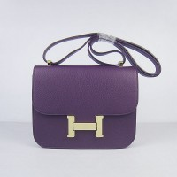 Hermes Constance Shoulder Bag Purple Glod