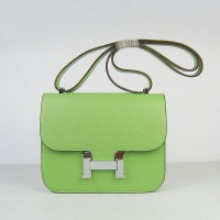 Hermes Constance Shoulder Bag Green Silver