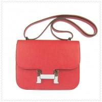 Hermes Constance Shoulder Bag Red Silver
