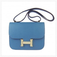 Hermes Constance Shoulder Bag Blue Gold