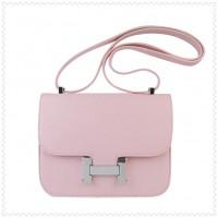 Hermes Constance Shoulder Bag Pink Silver