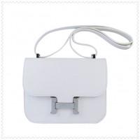 Hermes Constance Shoulder Bag White Silver