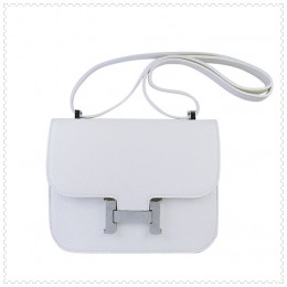 Hermes Constance Shoulder Bag White Silver