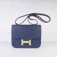 Hermes Constance Shoulder Bag Deep Blue Gold