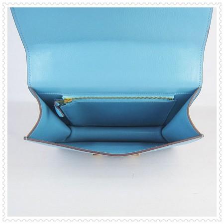 Hermes Constance Shoulder Bag Skyblue Gold