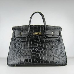 Hermes Birkin 40CM Crocodile Stripe Black Gold