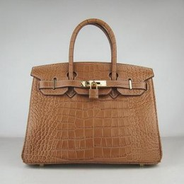 Hermes Birkin 30CM Crocodile Stripe Chocolate Gold