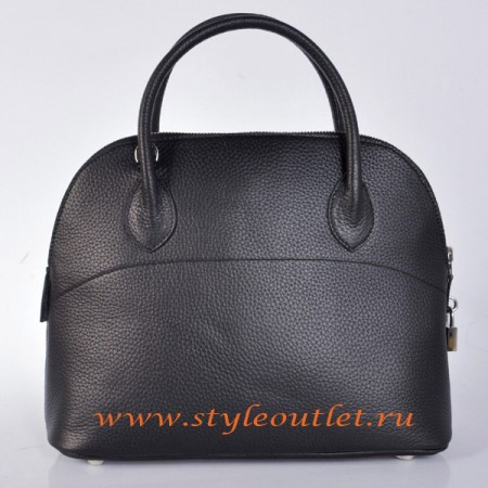 Hermes Bolide 31cm Black Togo Leather Bag Silvery