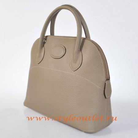 Hermes Bolide 31cm Dark Grey Togo Leather Bag Silvery