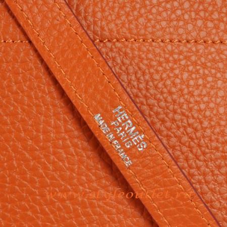 Hermes Bolide 31cm Orange Togo Leather Bag Silvery