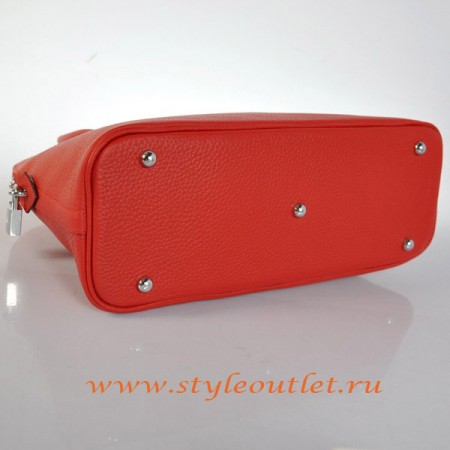 Hermes Bolide 31cm Red Togo Leather Bag Silvery