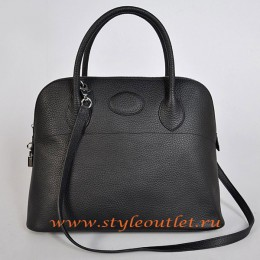 Hermes Bolide 37cm Black Togo Leather Bag Silvery