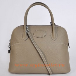 Hermes Bolide 37cm Dark Grey Togo Leather Bag Silvery