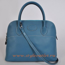 Hermes Bolide 37cm Medium Blue Togo Leather Bag Silvery