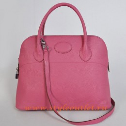Hermes Bolide 37cm Peach Togo Leather Bag Silvery