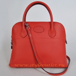 Hermes Bolide 37cm Red Togo Leather Bag Silvery