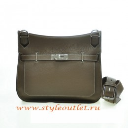Hermes Jypsiere 28cm Togo Leather Shoulder Bag Gray Silver