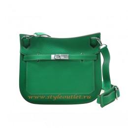 Hermes Jypsiere 28cm Togo Leather Shoulder Bag Green Silver