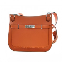 Hermes Jypsiere 28cm Togo Leather Shoulder Bag Orange Silver