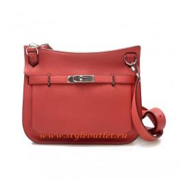 Hermes Jypsiere 28cm Togo Leather Shoulder Bag Peach Silver